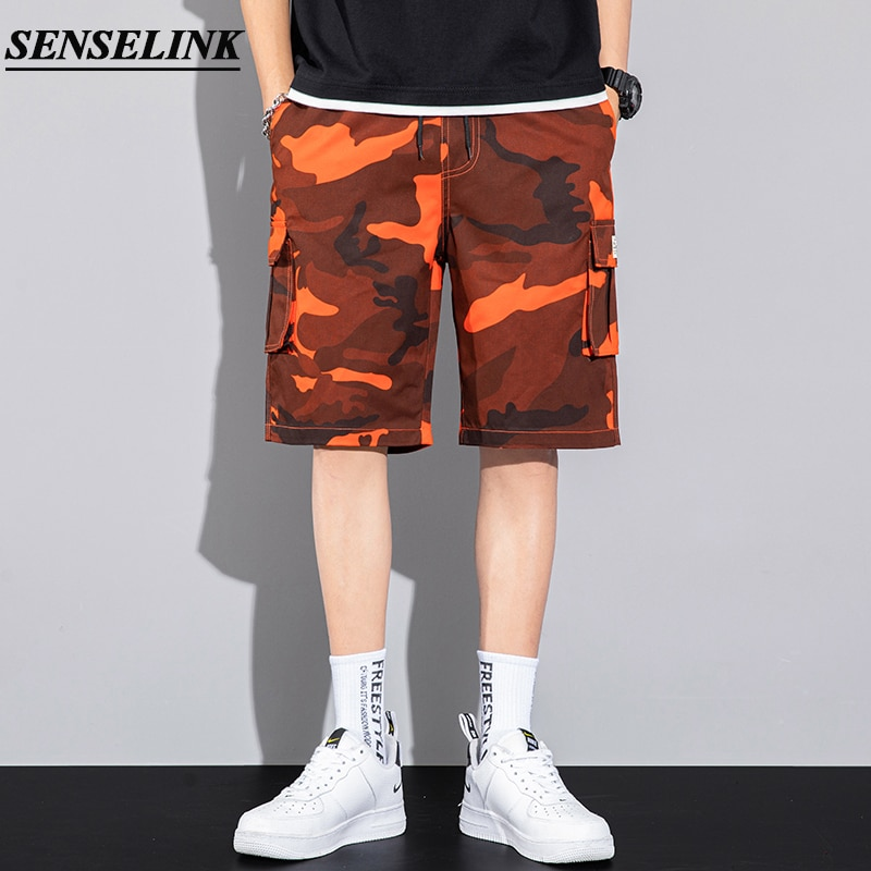 2021 Spring and Summer New Camouflage Cargo Shorts Men Casual Cotton Overalls Pants Fashion Loose Bi