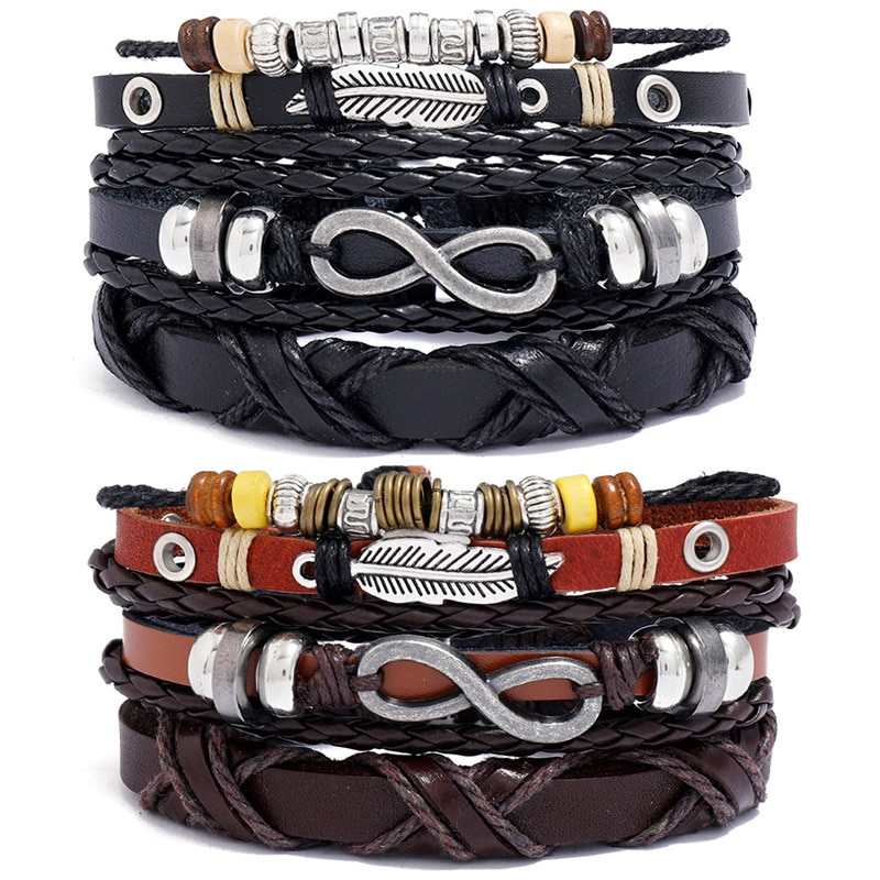 Hot-selling accessories retro braided cowhide bracelet diy three-piece 8-character feather couple bracelet