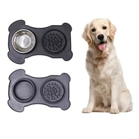 antislip double dog bowl silicone pet dinner plate durable stainless steel pet feeding bowl for dog cats feeder pet accessories