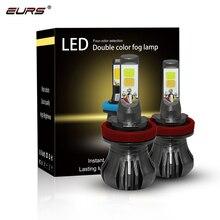 EURS 2Pcs COB Luz de Neblina H8 H11 H3 9600LM 40W H27 H1 Conduziu a Luz Do Carro 880 881 Levou lâmpadas 3000K 6000K 8000K Luz de Nevoeiro