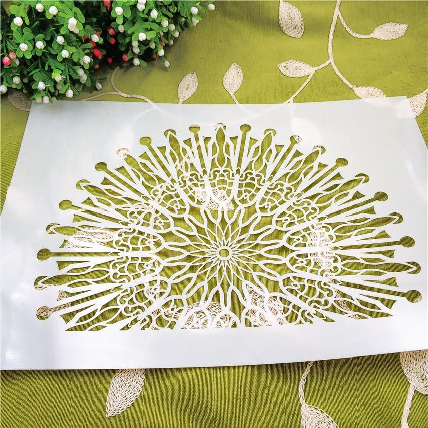 21*29.5 flores fan scrapbook stencils spray plástico molde escudo diy bolo oco embelezamento impressão rendas régua natal