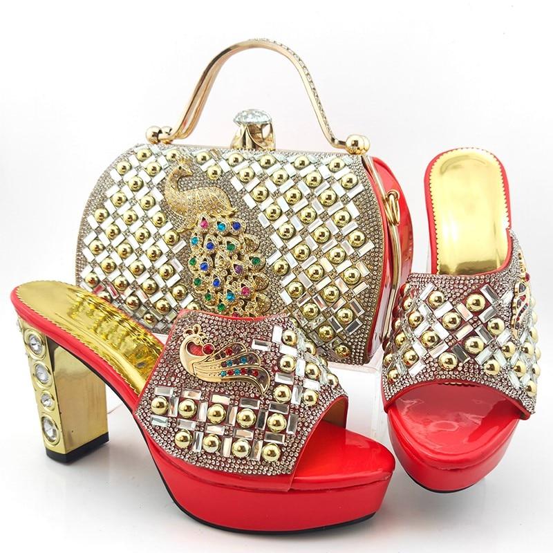 Wonderful coral women pumps with crystal decoration heel style african dress shoes match handbag set MD015,heel 10.5CM