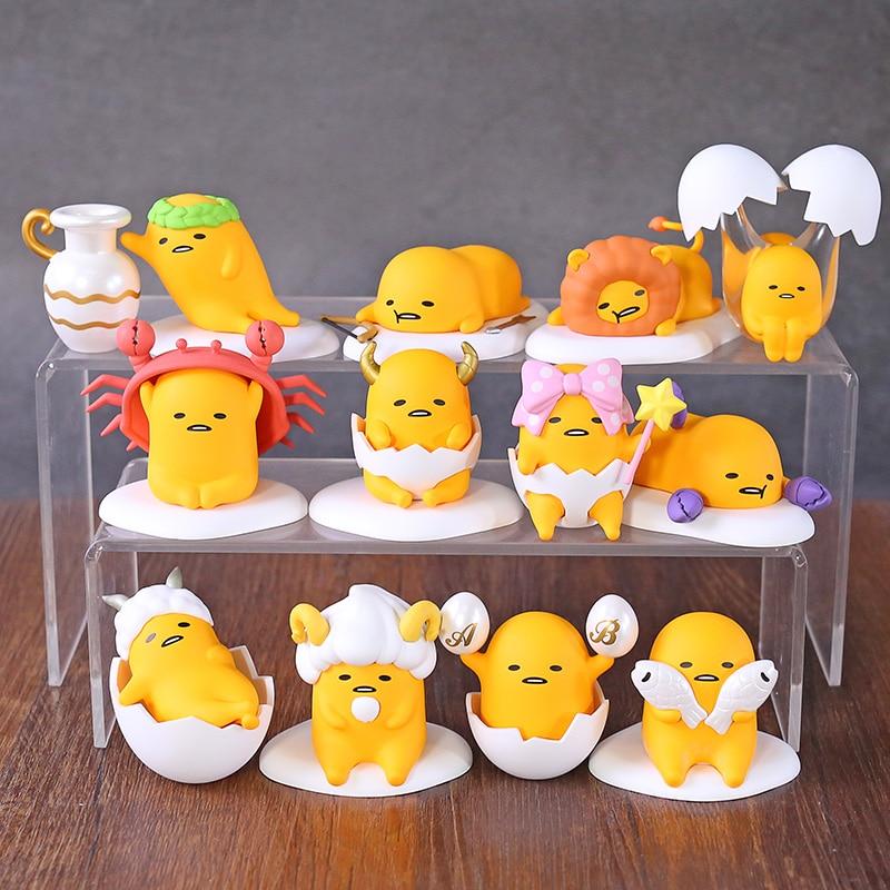 Gudetama Lazy eggs Zodiac Series Mini figuras de PVC juguetes coleccionables muñecas brinquete 12 unids/set