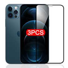 Комплект из 3 предметов, для полного покрытия стекла для iPhone 11 12 Pro Xs Max X XR 12 мини Защитная пленка для экрана для iPhone 8, 7, 6, 6s Plus, защитная пленка ...