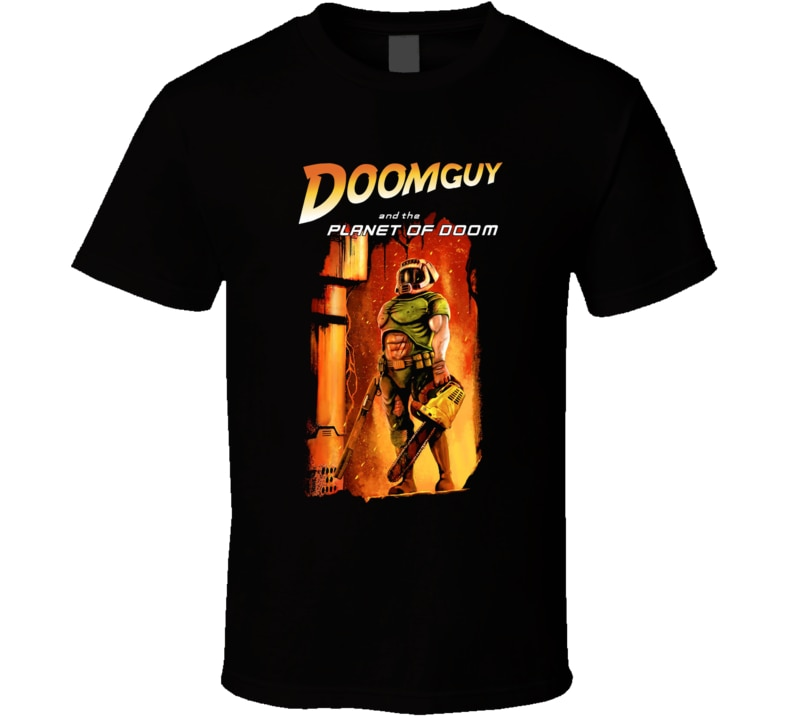 Для мужчин футболка Doomguy и планета Doom футболка Для женщин футболка