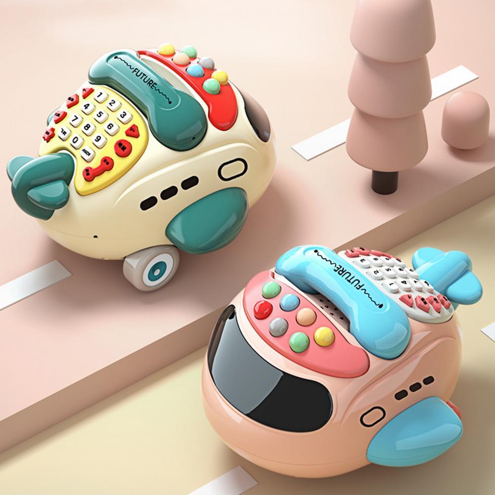 Phone Toy Airplane Shape Intelligence Development Eco-friendly Cartoon Plane Music Phone Toy for Infants планшеты не дорогие