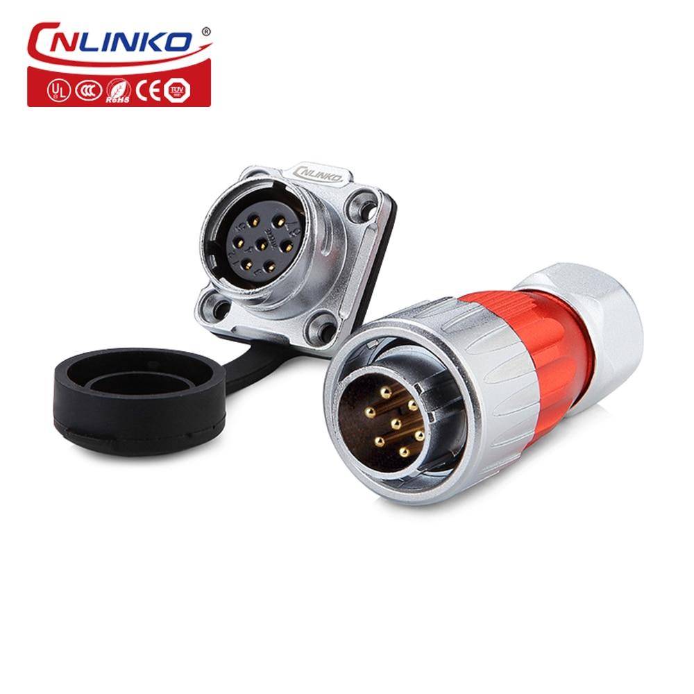 Cnlinko-موصلات قابس الطيران ، طلاء ذهبي معدني ، موصل طيران 7pin M20 ، IP67 مقاوم للماء ، محول LED للسيارة