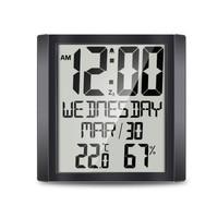 8.6 Inch Digital Alarm Clock Snooze Calendar Display Time Temperature Humidity Display LCD Large Screen Digital LED Clock
