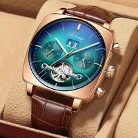 ailang men watch mechanical automatic watches green square wrist watch tourbillon mens sports waterproof relojes hombre 8622