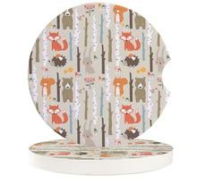 Car Cup Mat Ceramics Mug Coaster Set Cartoon Forest Animal Tree Fox Bear Rabbit Child Teacup Pad For Home Table Decor