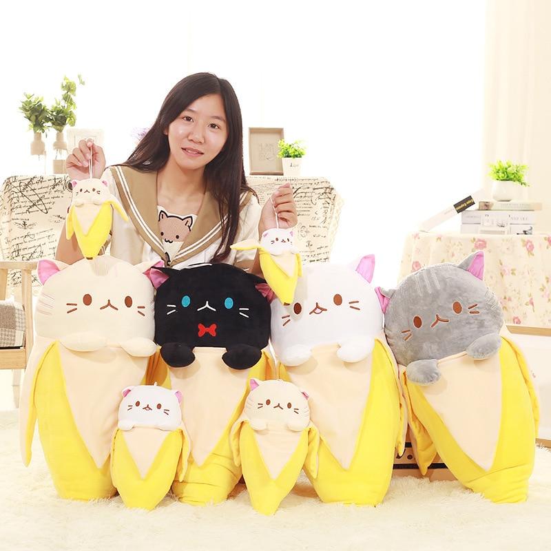 Gato creativo en Banana de peluche de juguete para niños bebé Huggable Banana en forma de gato muñeca frutas Kitty de peluche de juguete 18-60cm