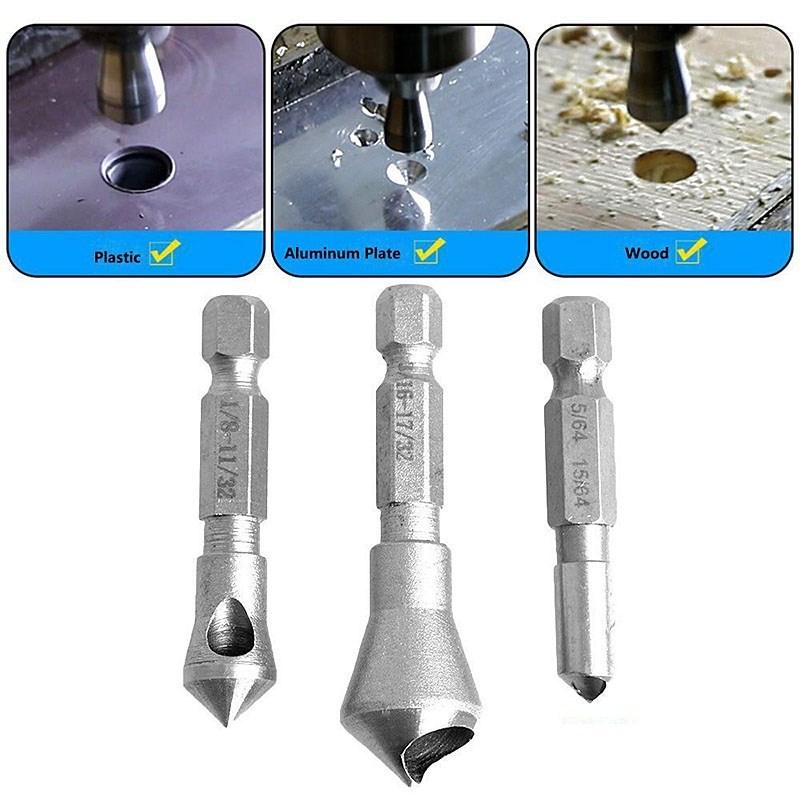 3pcs 6.35mm Hex countersink drill bit set HSS 90 degree chamfering knife Metal Hole Saw Cutter deburring burr repair Power tools