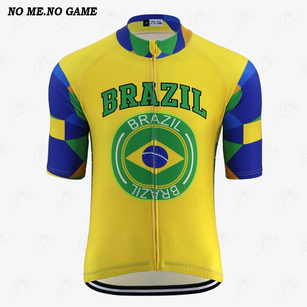 NO ME ningún juego-Pro Brasil Bandera Nacional emblema equipo ciclismo jersey hombres verano ciclismo de competición en carretera ropa camiseta para bicicleta de montaña