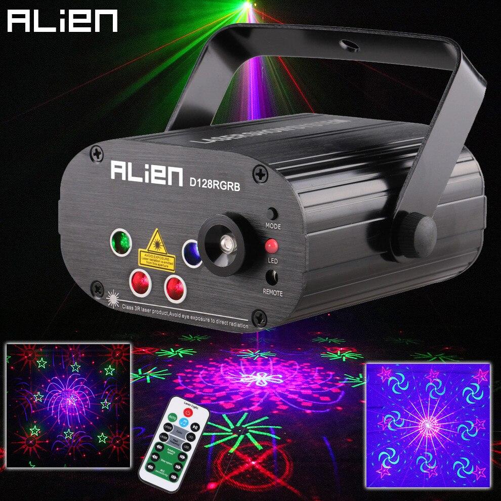 جهاز عرض ليزر RGB DJ مع جهاز تحكم عن بعد ، 128 نمط ، تأثير إضاءة المسرح ، ديسكو ، نادي ، حفلة عيد الميلاد ، ضوء أزرق 3 وات