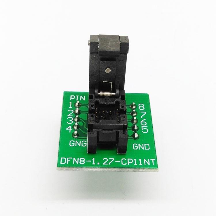 QFN8 DFN8 WSON8 Programming Socket Pogo Pin IC Test Adapter QFN8-1.27-CPO1PNL Pitch 1.27mm Clamshell Size 6*8 programming Socket