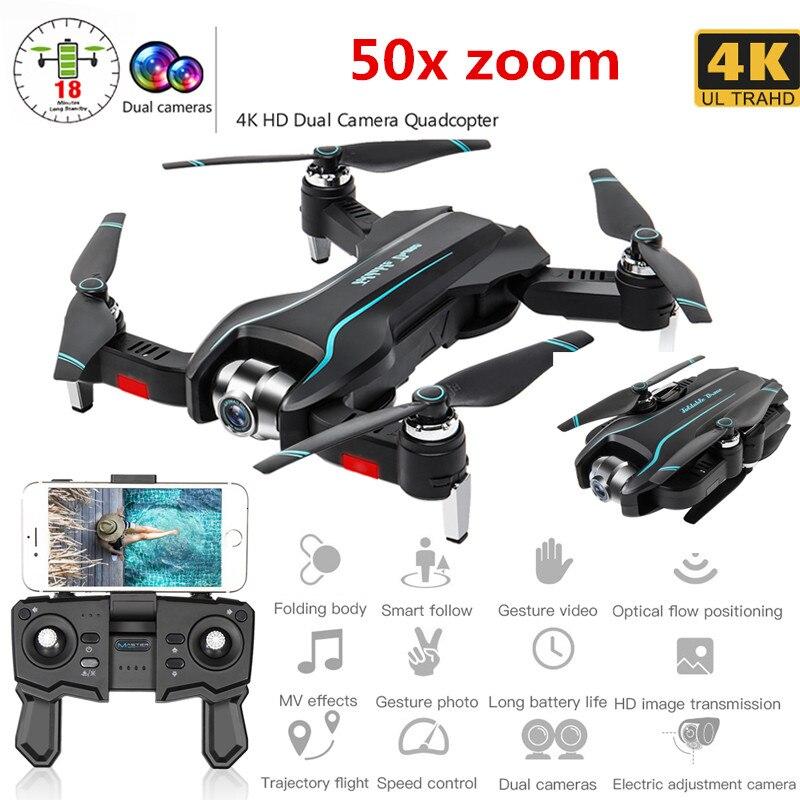 WIFI Dron 4K HD con cámara de gran angular ajustable FPV Video aéreo en tiempo Real plegable Quadrocopter gesto foto RC RC Juguetes