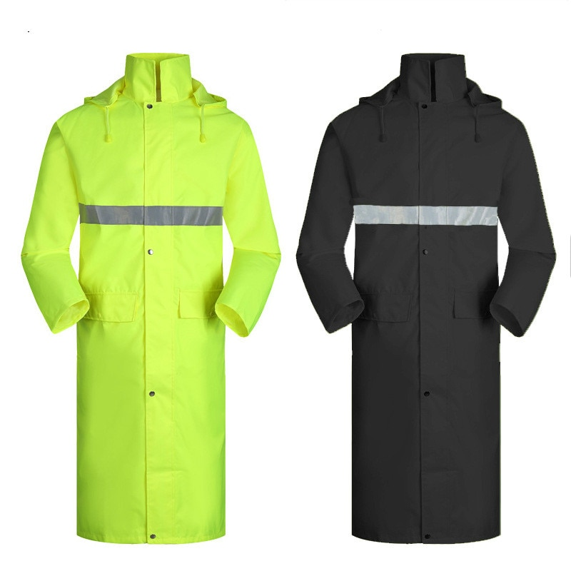 Adulto longo capa de chuva poncho oxford uma peça trench coat segurança patrulha suporte guarda leakproof à prova de água e segurança reflexiva