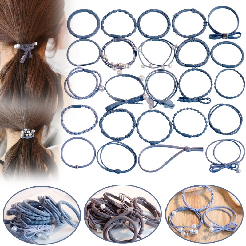 24 unids/set de pelo de estilo coreano para mujeres, Set de corbatas bandas de goma para el cabello, banda de pelo con estilo SSwell
