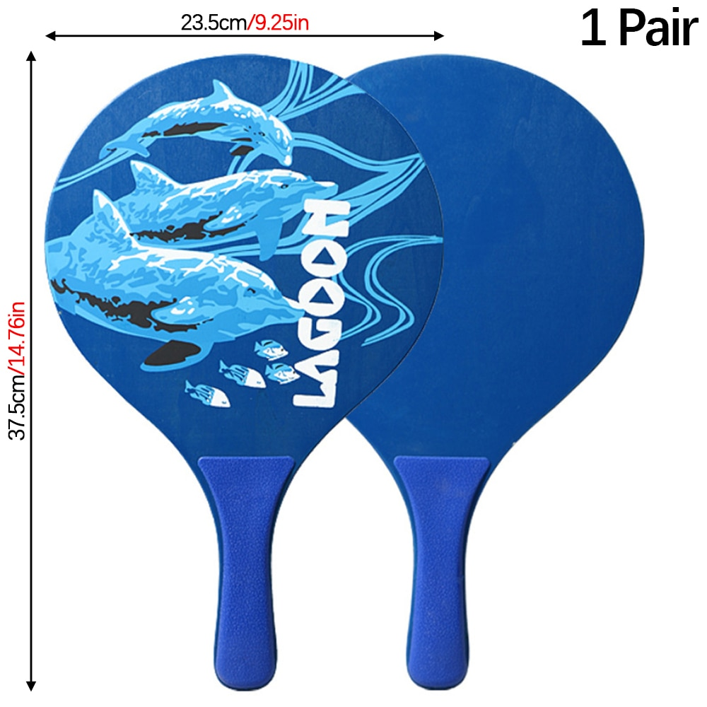 Beach Paddle Ball Set Portable 1 Pair Wood Ping Pong Paddles with 2 Balls Plastic Handle Rackets for Family Group Game недорого