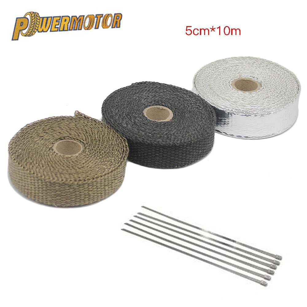 50mm*10m Motorcycle Heat Exhaust Pipe Heat Shield thermal Tape  Wrap Insulation Kit Fiberglass Exhaust Tape With Stainless Ties radiation insulation and moisture proof heat exchanger and waterproof air conditioner tube heat pipe insulation tape