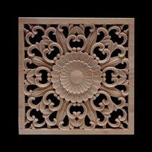 Autocollant de décoration ornemental   Grande fleur ovale naturelle longue, en bois, pour murs meubles armoire, Applique bois, nouveau