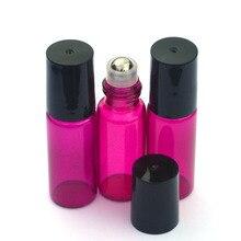 1pcs Refillable 5ml Roller Glass Bottle Fragrance Perfume Essential Oil Empty Rose Bottle Roll-On Black Plastic Cap Bottle