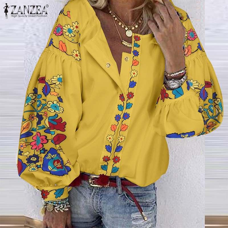 Blusa Bohemia con estampado Floral ZANZEA botones de manga larga para mujer Blusas casuales de primavera para mujer bata trabajo camisas de talla grande 7