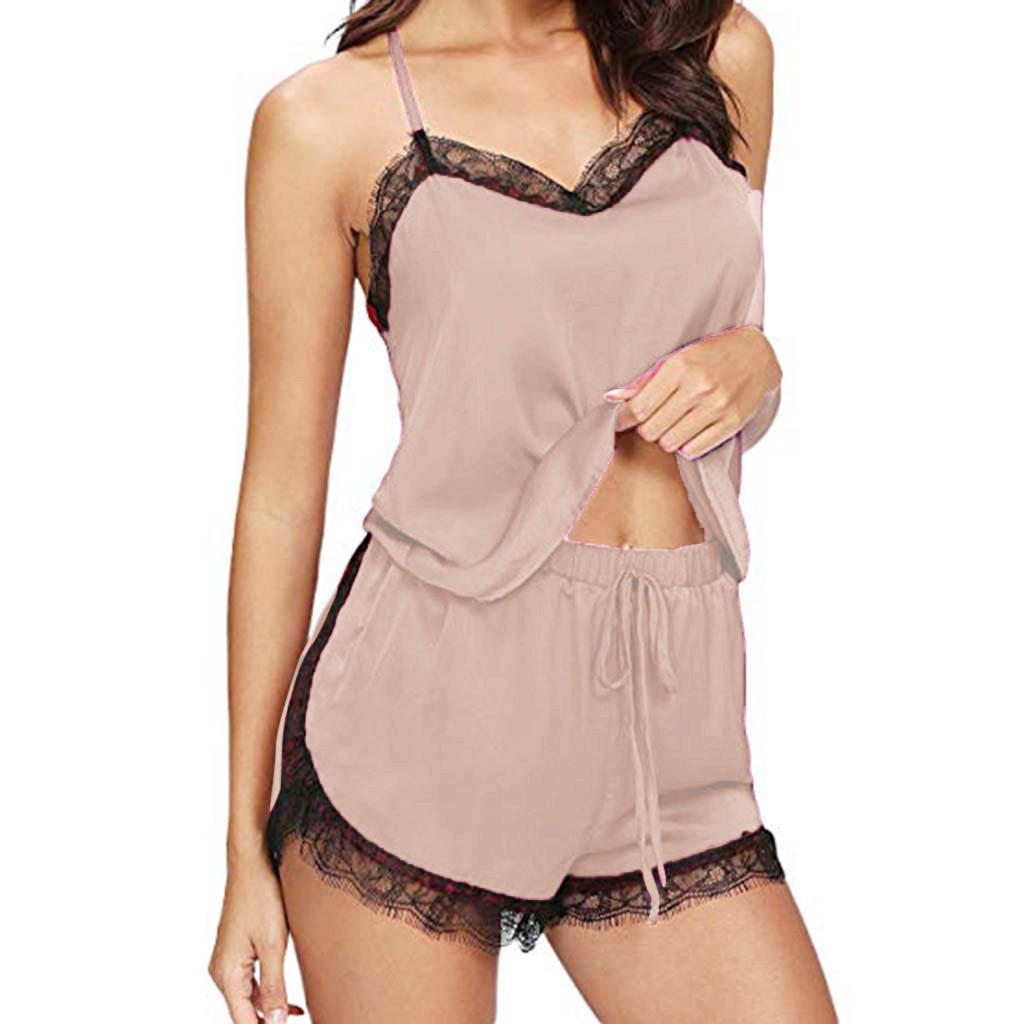 2Pcs Pajamas Set V Neck Sling Sleeveless Sexy Silk Robe Lace Sleep Lounge Pyjama Sleepwear Nightie P