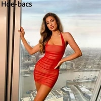 summer sexy neck mounted double layer club mini bodycon dresses women casual solid slim party dress female vestidos outfits