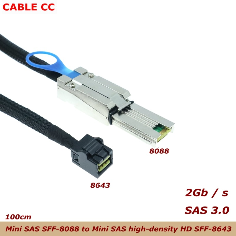 1m الخارجية البسيطة SAS SFF-8088 إلى البسيطة SAS عالية الكثافة HD SFF-8643 بيانات الخادم القرص الصلب RAID كابل أفضل جودة