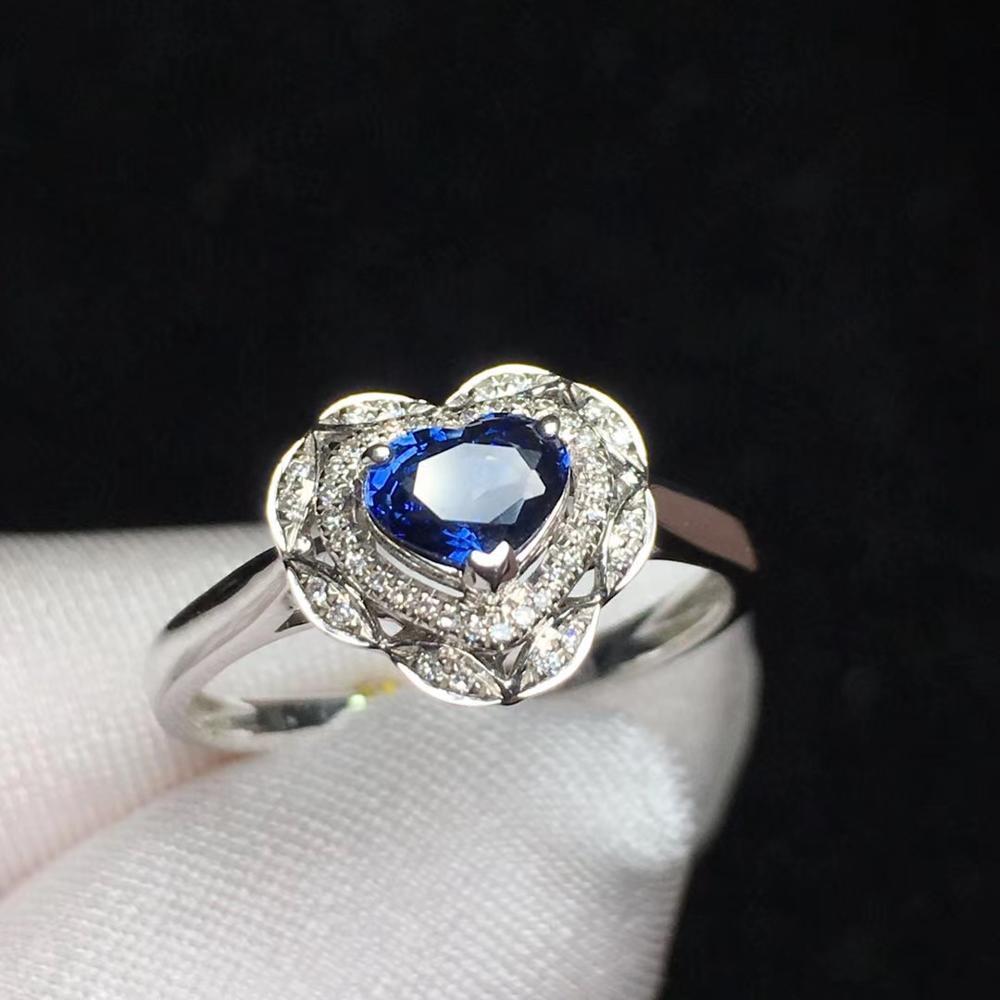 T1205 azul safira anel 0.7ct real puro 18 k natural unheat azul real safira pedra preciosa diamantes pedra anel feminino