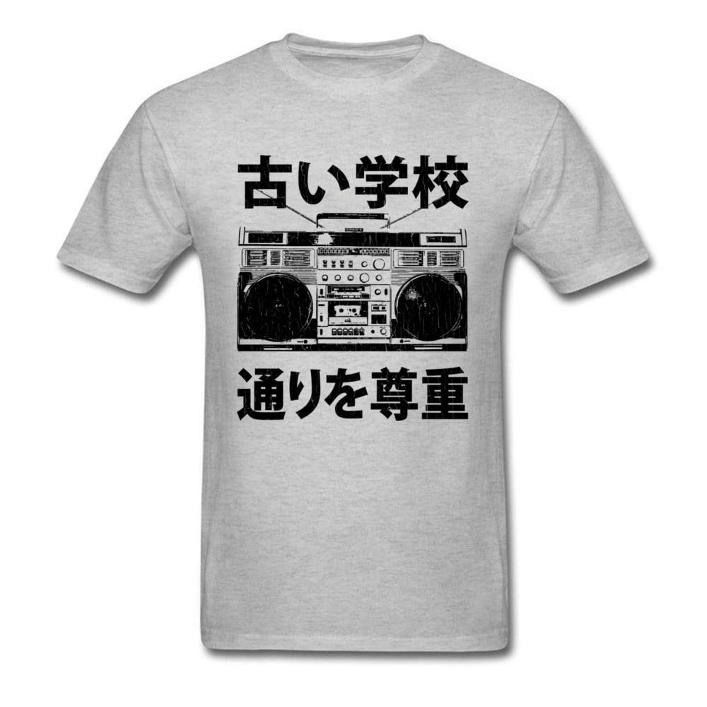 Camiseta Retro Boombox School Kanji Stranger Things Hawking Record 100% de algodón para hombre