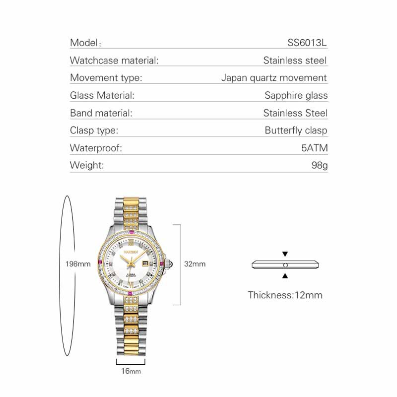 NAKZEN Top Luxury Watch for Women Automatic Mechanical Watches Stainless Steel Wristwatch Life Waterproof Clock Relojes De Mujer enlarge