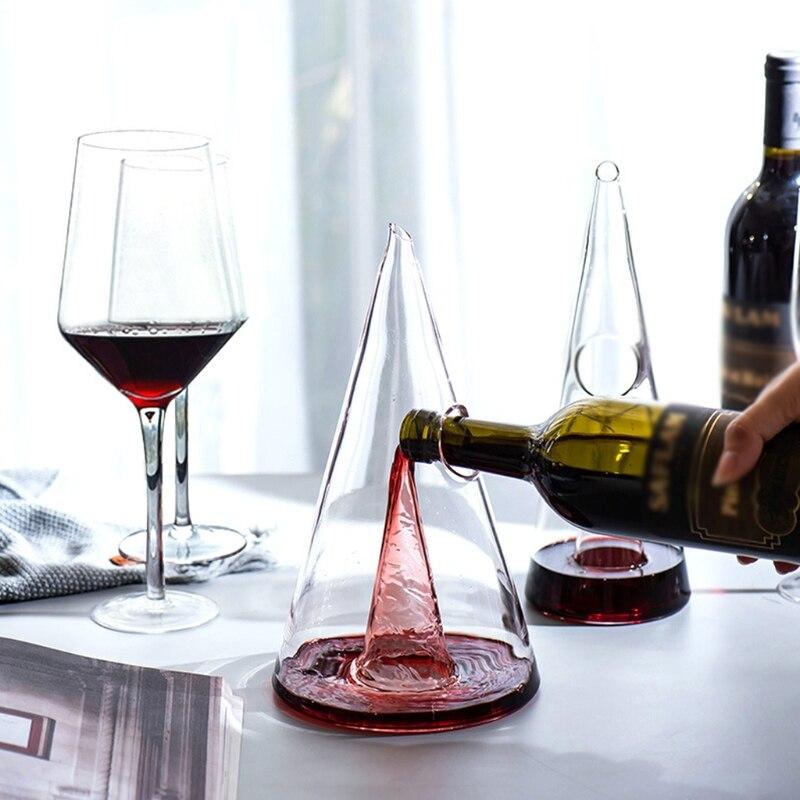 دورق النبيذ الزجاجي الهرم شلال ويسكي فصل مدفق نبيذ أدوات البار دروبشيبينغ
