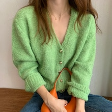 Cardigan Sweater Korean Chic Style White Apple Green V-neck Single Breasted Loose Skin Friendly Long