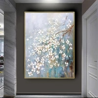 hand painted large abstract plum flowers oil painting modern knife wall decor art pictures acrylic floral paintings on canvas