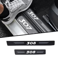 4pcs car sticker door carbon leather fiber sill plate for peugeot 206 307 308 408 auto parts accessories car styling