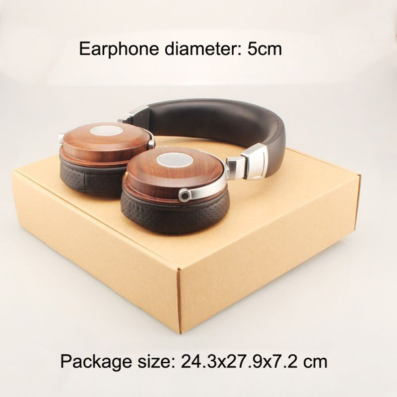 Foldable 3.5mm Stereo Wooden Over-ear Earphone Headphone Headset for PC Laptop Cellphone Tablet MP3 Computer enlarge