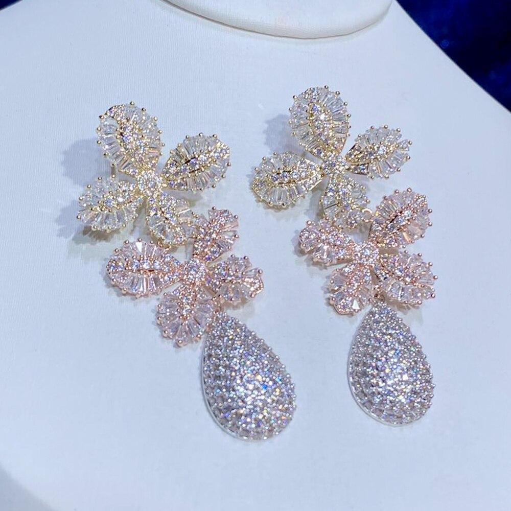 مجوهرات الأزياء الكلاسيكية ASNORA ، مع أقراط زهرة أنيقة ، وأقراط ، Micropavé الفاخرة الزفاف المشاركة قلادة القرط