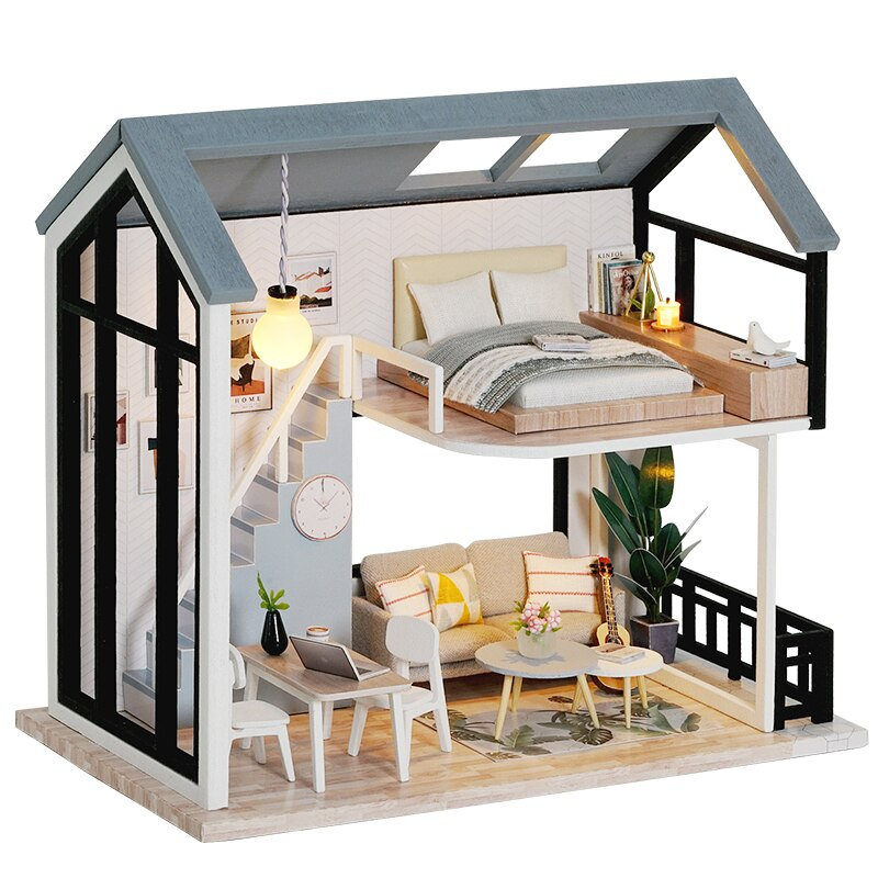 CUTEBEE DIY Doll House Wooden Doll Houses Miniature Dollhouse Furniture Kit with LED Toys for children Christmas Gift QL02 cutebee doll house miniature dollhouse with furniture kit wooden house miniaturas toys for children new year christmas gift