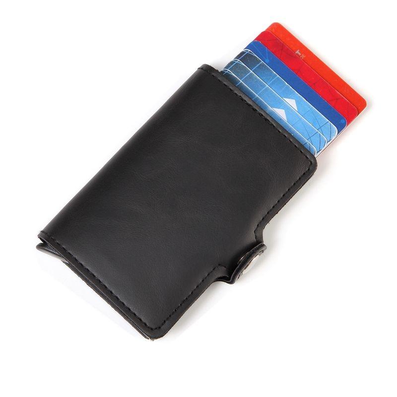Мужской кожаный бумажник Crazy Horse, Алюминиевый RFID кошелек, Карманный держатель для карт, блокирующий автоматический всплывающий мини-кошелек для кредитных карт, подарок