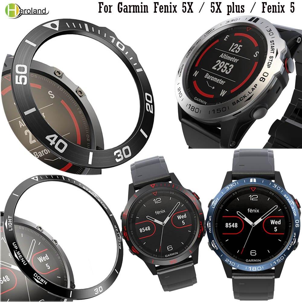 Steel Protection Bezel Ring Case For Garmin Fenix 5 / Fenix 5X / 5X plus Watch Speed Adhesive Anti Scratch Metal Cover Frame