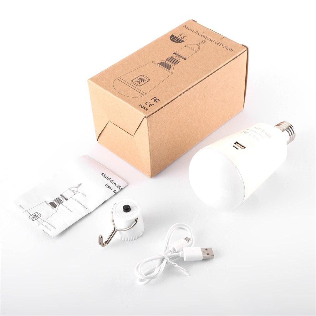 Bombilla LED para lámpara Solar multifuncional portátil 7W LED Bombilla E27 lámpara LED de emergencia DC 5V 2600mA con Banco de energía de batería
