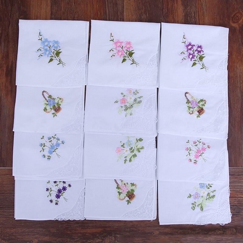 6 szt. Vintage bawełniane damskie haftowane koronkowe chusteczki damskie kwiatowe chusteczki 50PF