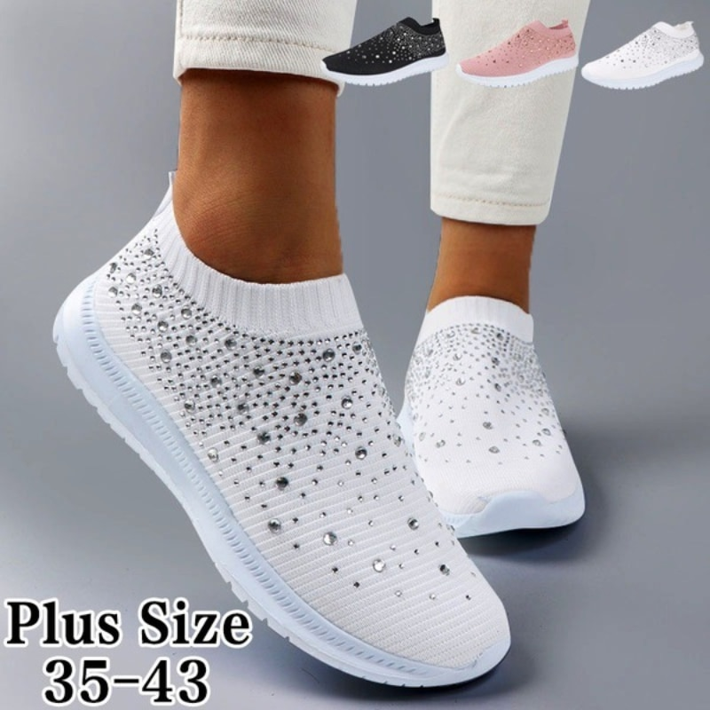 Women Casual Running Shoes Spring Crystal Solid Female Mesh Sneakers Casual Flat Shoes Women Flats Ladies Sports Shoes White 2021 women casual flats shoes female hollow breathable mesh summer women s sneakers ladies sneakers women shoes shoes women