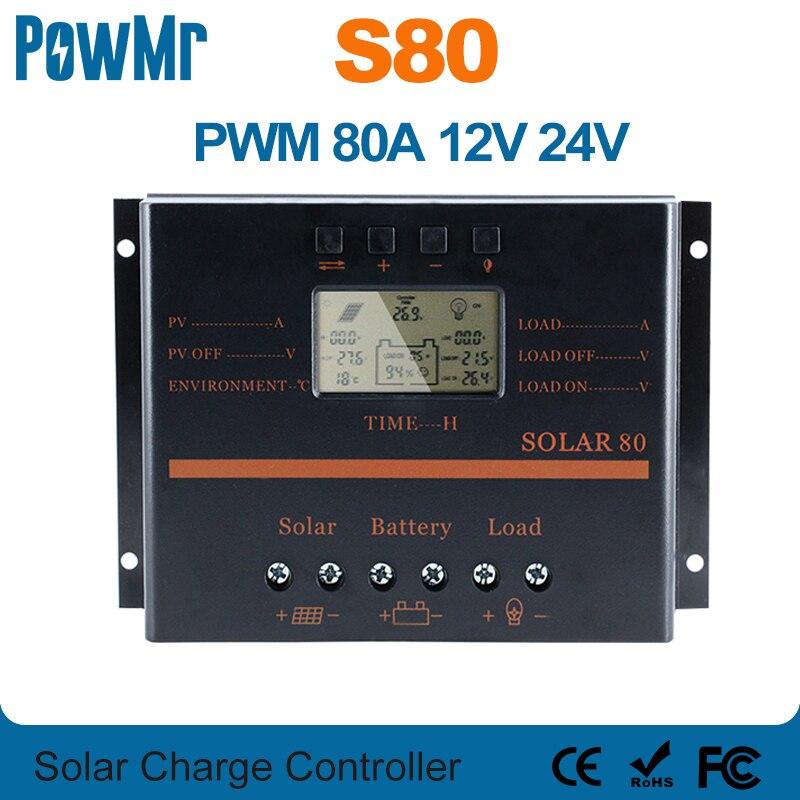 وحدة تحكم 80A بالطاقة الشمسية 12 فولت 24 فولت LCD 5 فولت USB شاحن للهاتف المحمول PV لوحة بطارية تهمة تحكم النظام الشمسي المنزل استخدام داخلي