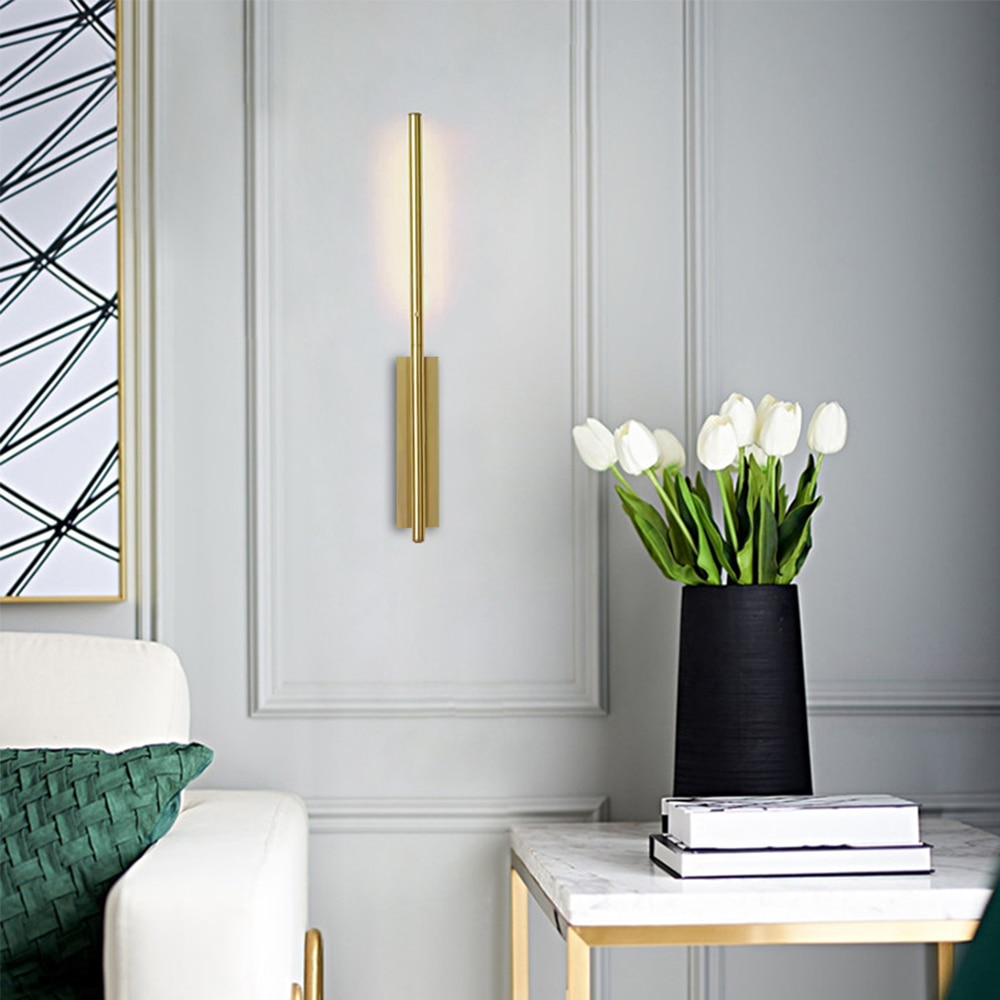 مصباح جداري LED على الطراز الاسكندنافي ، مصباح حائط خطي معدني حديث ، ذهبي ، لغرفة المعيشة ، غرفة النوم ، المطبخ ، الديكور الداخلي للمنزل