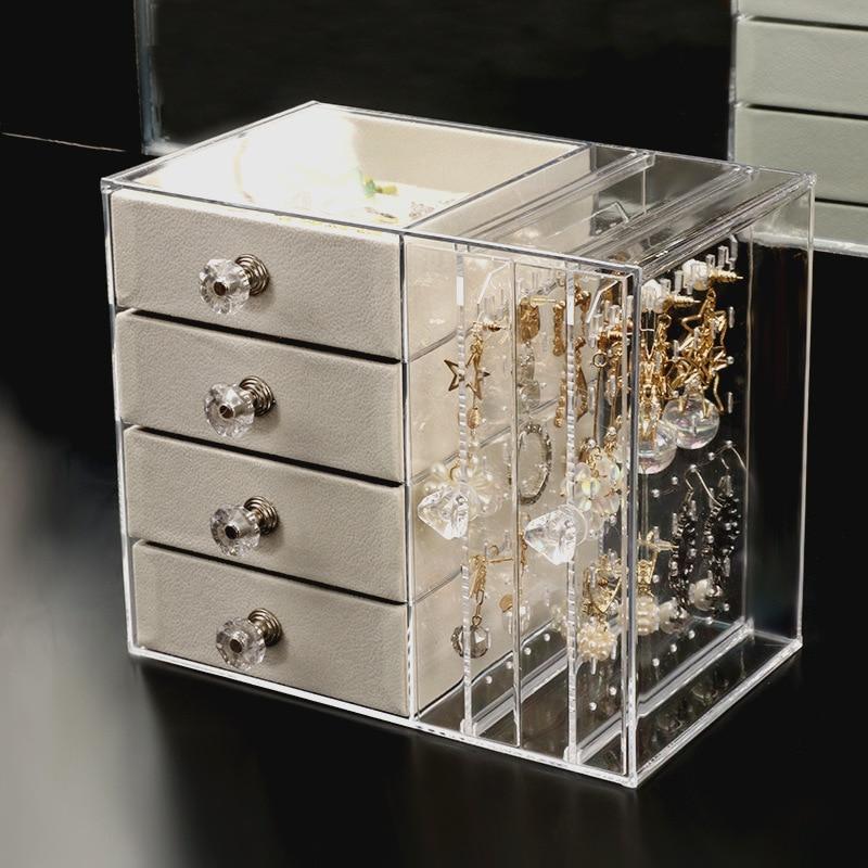 صندوق تخزين مجوهرات شفاف مع 4 أدراج ، وعرض للأقراط والقلائد النسائية ، ومنظم مجوهرات ذو سعة كبيرة للخزانة