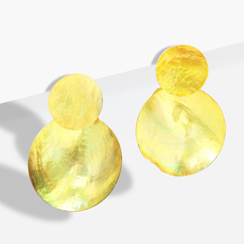 Girlgo корейские массивные круглые металлические пластины, четыре цвета, висячие серьги, геометрическое двойное кольцо, винтажные женские сер...