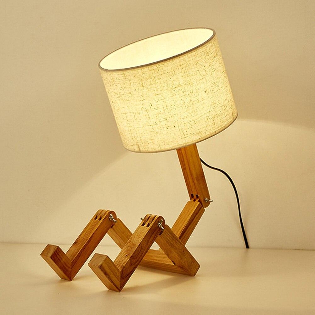 Roboter Förmigen Wohnzimmer E27 Flexible Holz Basis LED Tisch Lampe Arbeits Nordic Moderne Lern Für Schlafzimmer Innen Dekoration